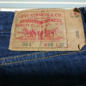 Levi Vintage 501 Red Tag button fly blue jeans
